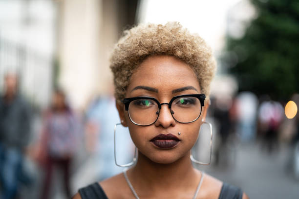 Portrait of Fashionable Woman at city Alternative Lifestyle short hair stock pictures, royalty-free photos & images