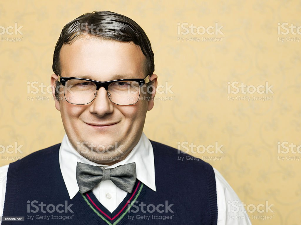 Portrait of fat male nerd stock photo