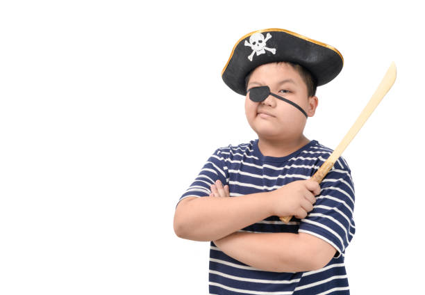 Portrait of fat pirate holding wooden sword isolated stock photo