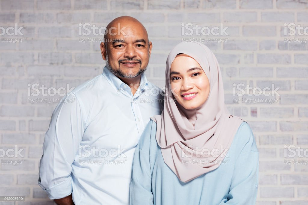 Portrait of father and daughter stock photo