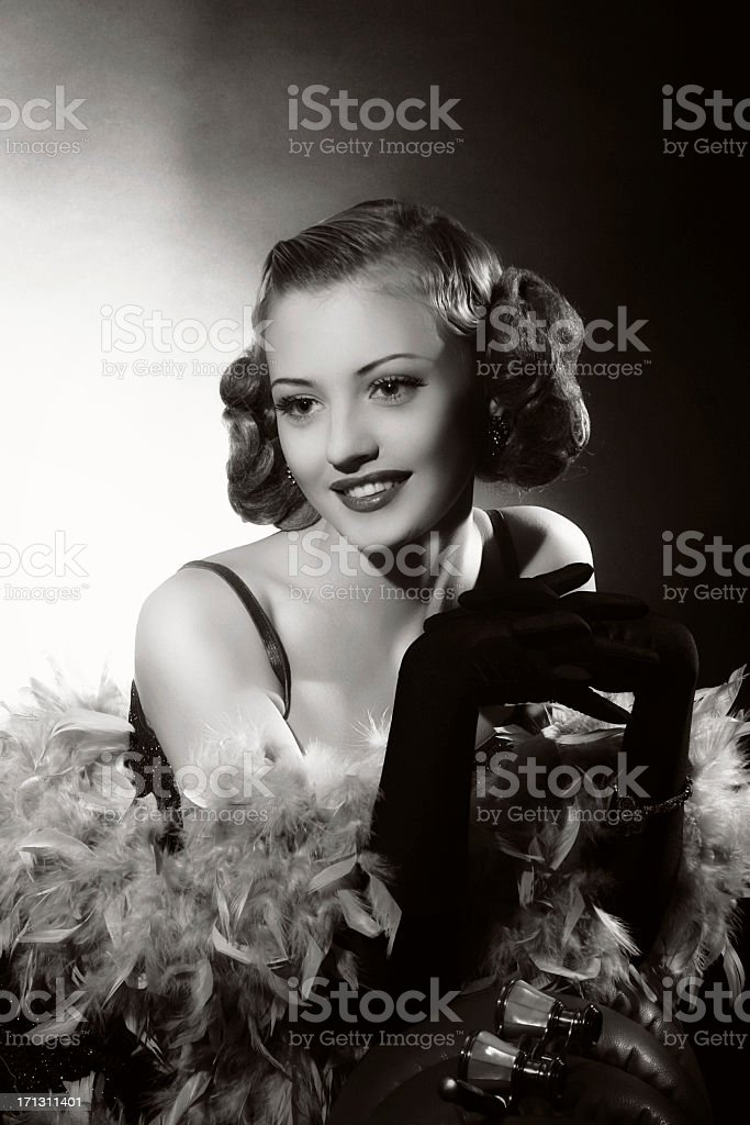 Portrait of female actress in film noir style stock photo