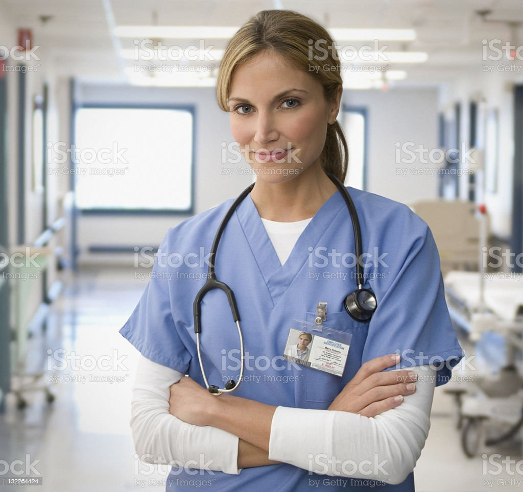 Portrait of female doctor stock photo