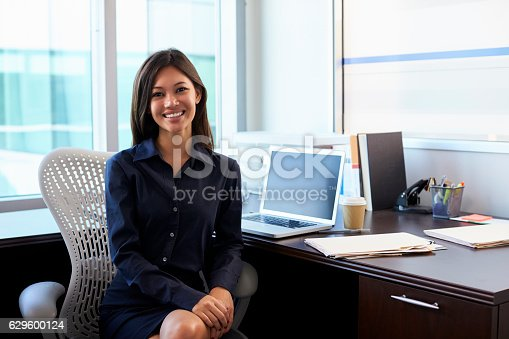istock Portrait Of Female Doctor Sitting At Desk In Office 629600124