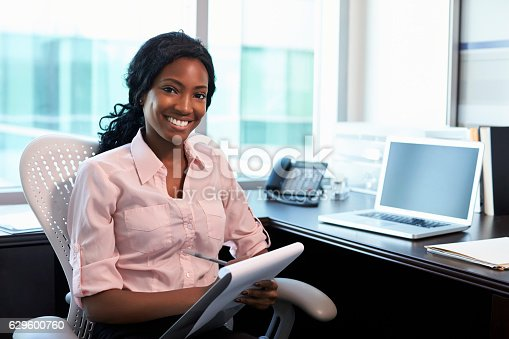istock Portrait Of Female Doctor Working In Office 629600760