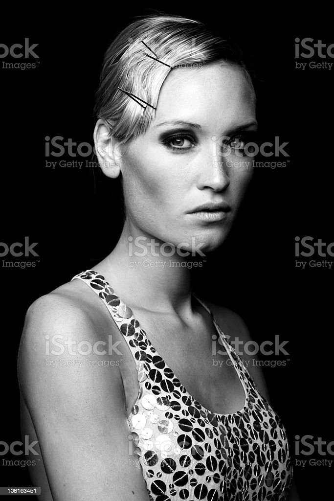 Portrait of Female Fashion Model, Black and White royalty-free stock photo