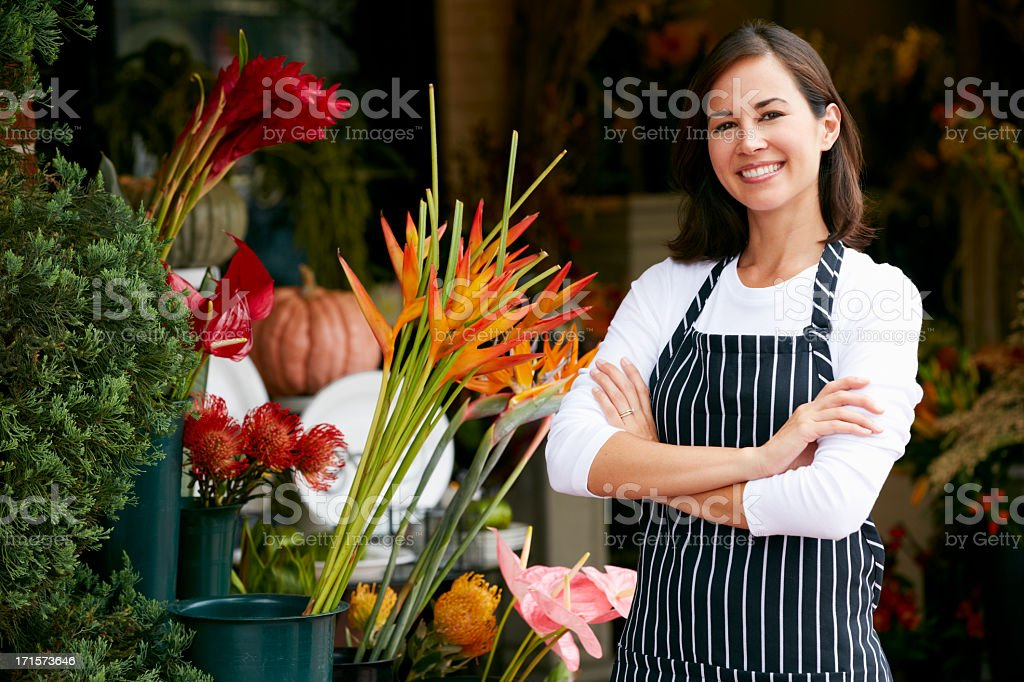 Portrait Of Female Florist Outside Shop stock photo