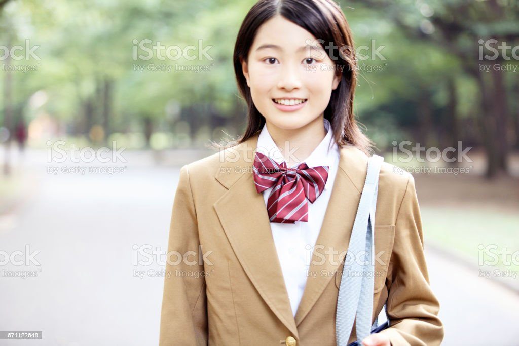 Portrait of female high school students royalty-free stock photo