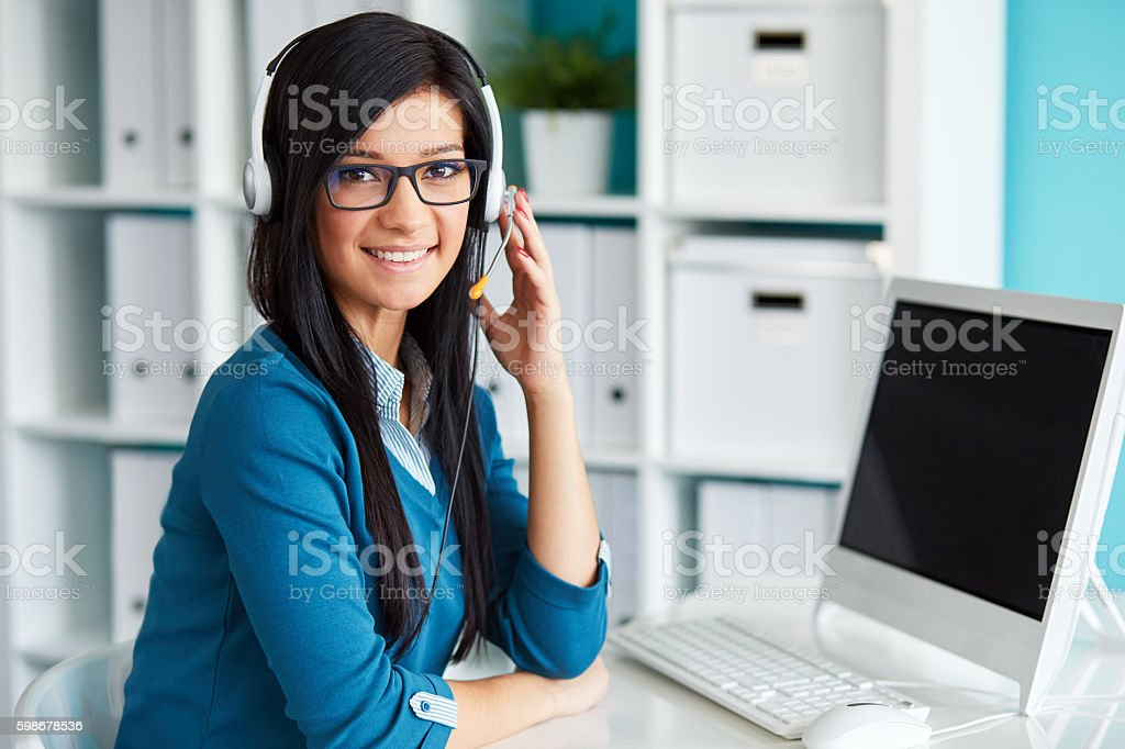 Portrait of female operator stock photo