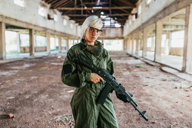 Portrait of female soldier stock photo