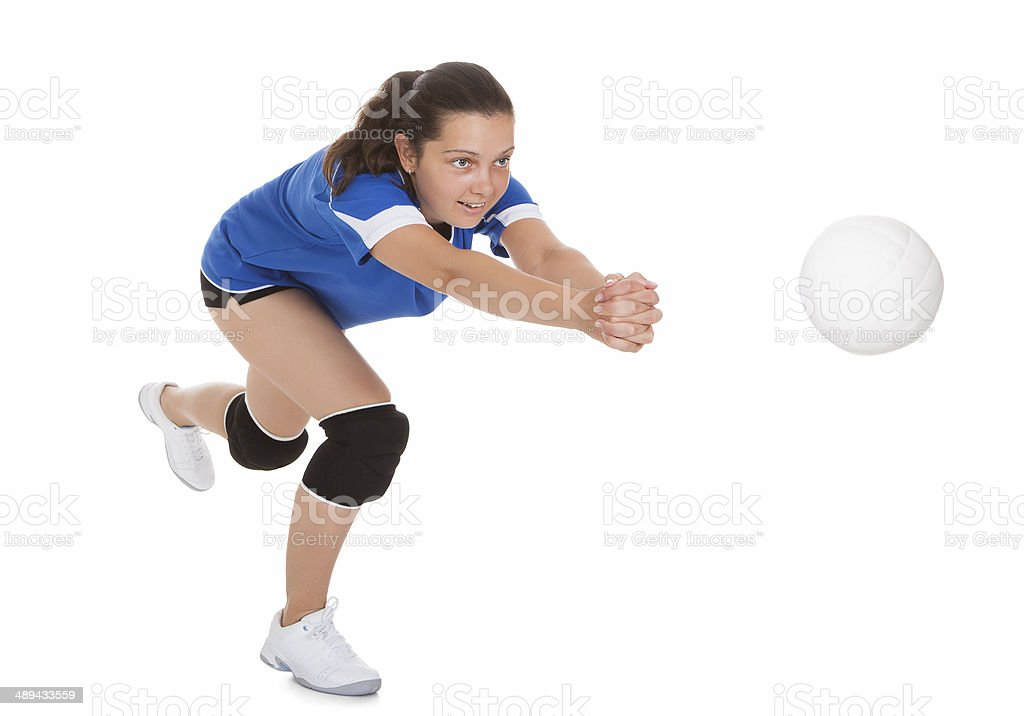 Portrait of female volleyball player stock photo