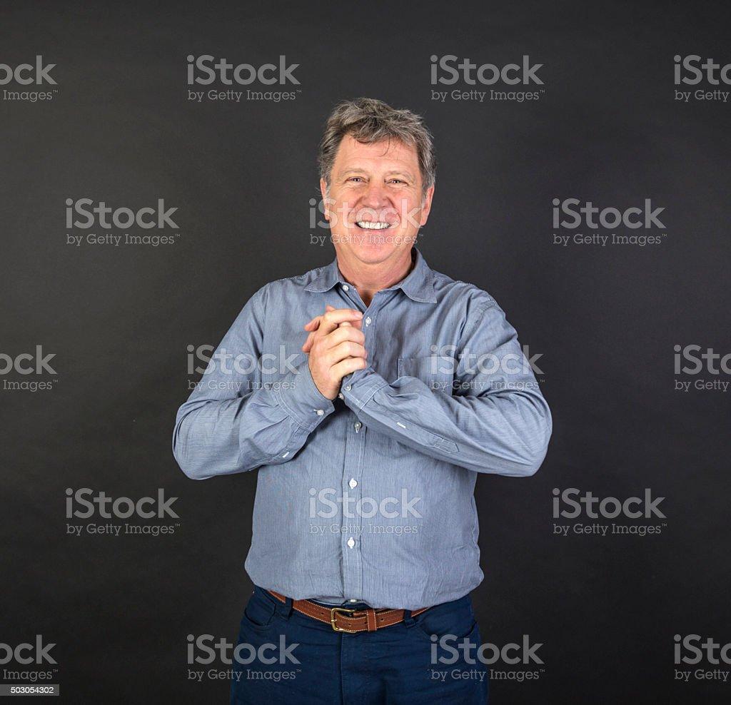 portrait of fifty year old man showing emotions stok fotoğrafı