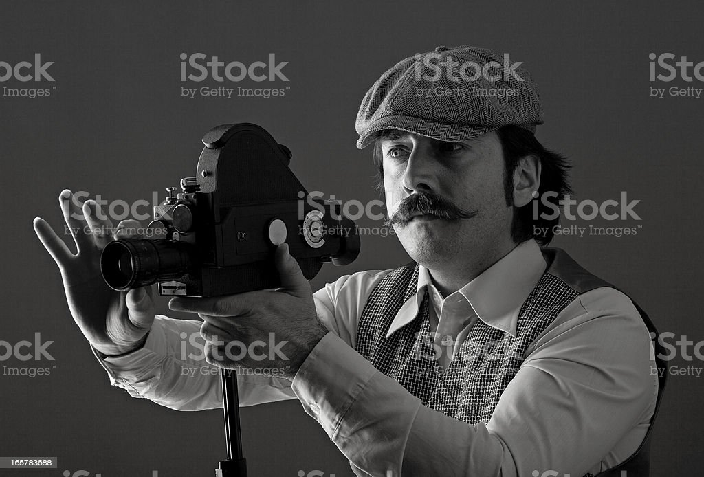 Portrait of film director behind camera royalty-free stock photo