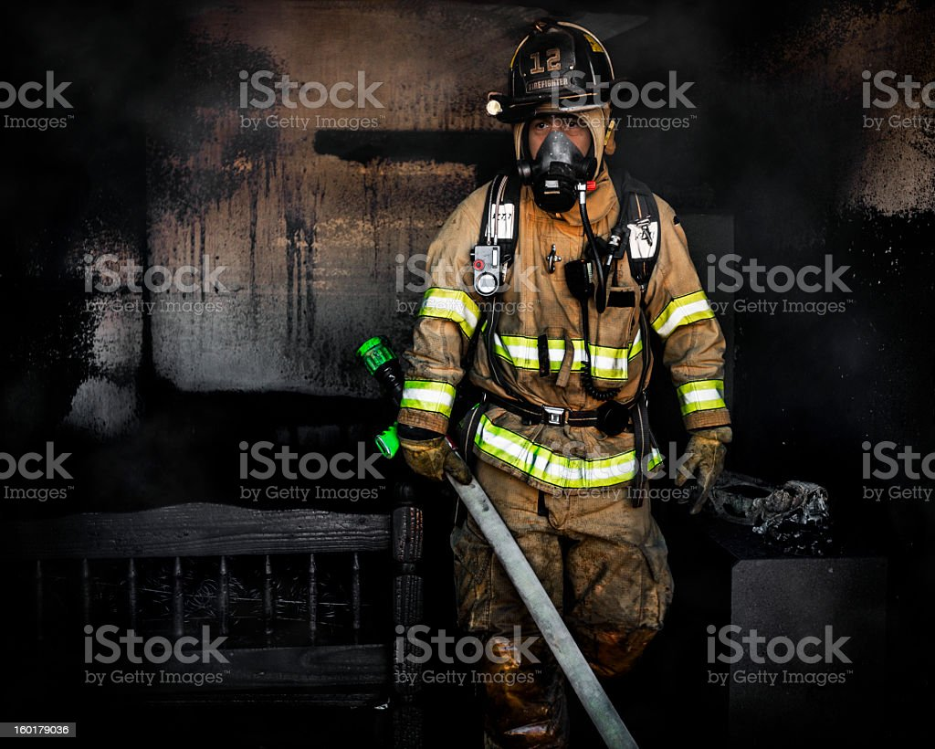 Portrait of Firefighter stock photo