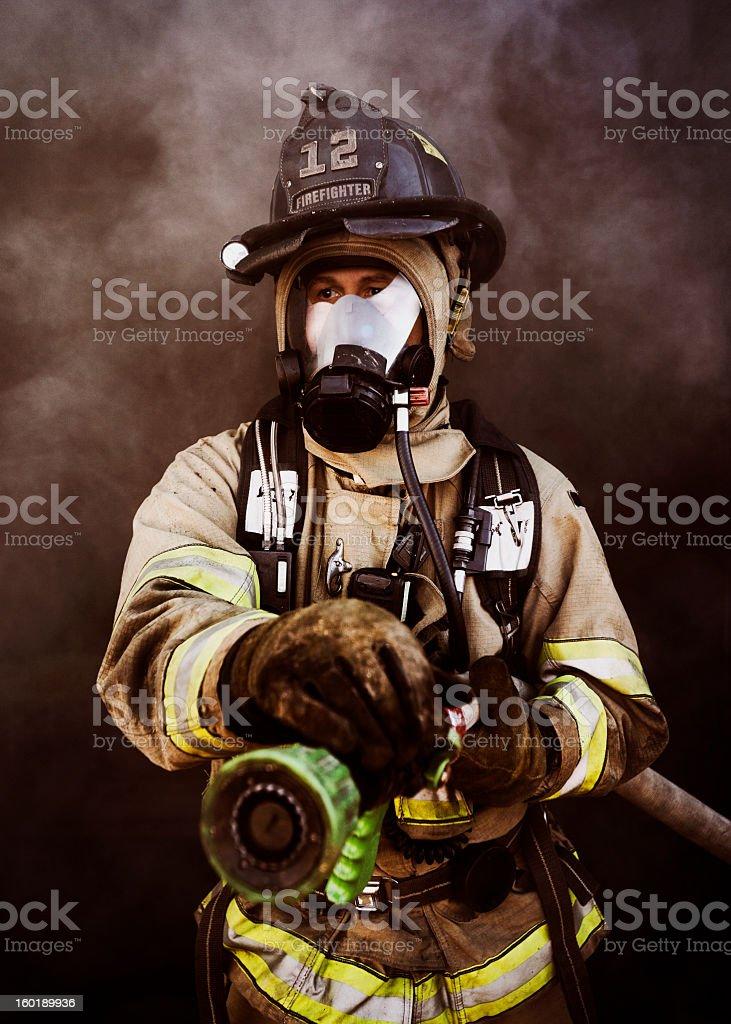 Portrait of Firefighter stock photo