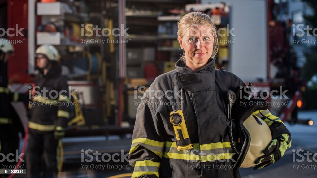 Portrait of firefighter'n stock photo