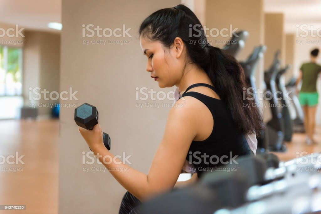 Portrait Of Fitness Woman Lifting Dumbbell In The Gym Sports