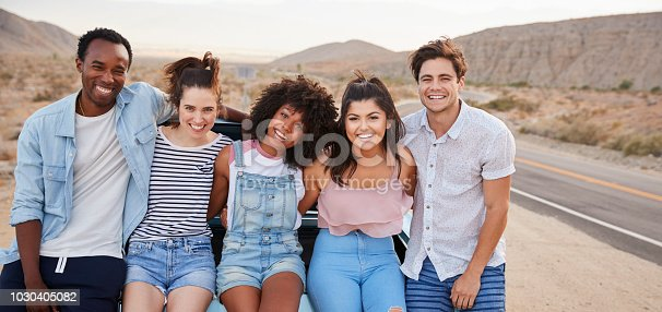 1030408008 istock photo Portrait Of Five Friends Sitting In Trunk Of Classic Car On Road Trip 1030405082
