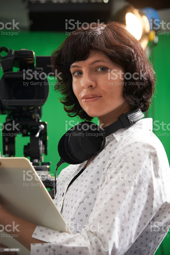 Portrait Of Floor Manager In Television Studio Stock Photo