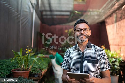 Portrait of Florist Small Business Flower Shop Owner