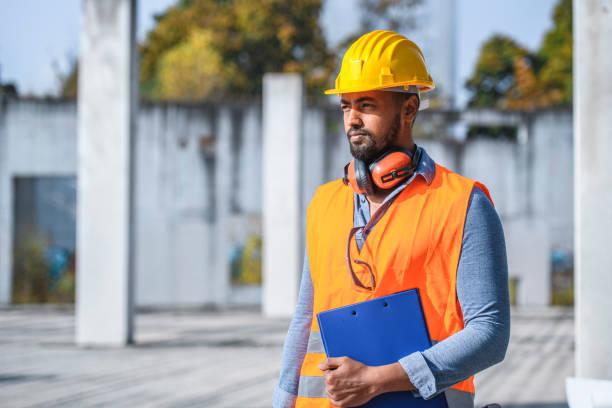 Portrait of Focused Construction Site Foreman stock photo