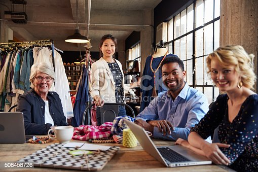 istock Portrait Of Four Fashion Designers In Meeting 508458726