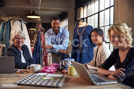 istock Portrait Of Four Fashion Designers In Meeting 508458954