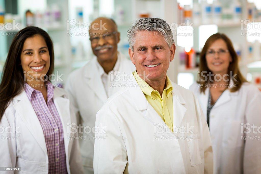 Portrait of Four Pharmacist royalty-free stock photo