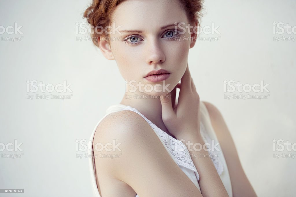 Portrait of fresh and lovely woman stock photo
