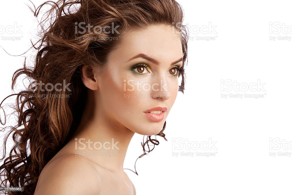 Portrait of fresh woman with curls royalty-free stock photo