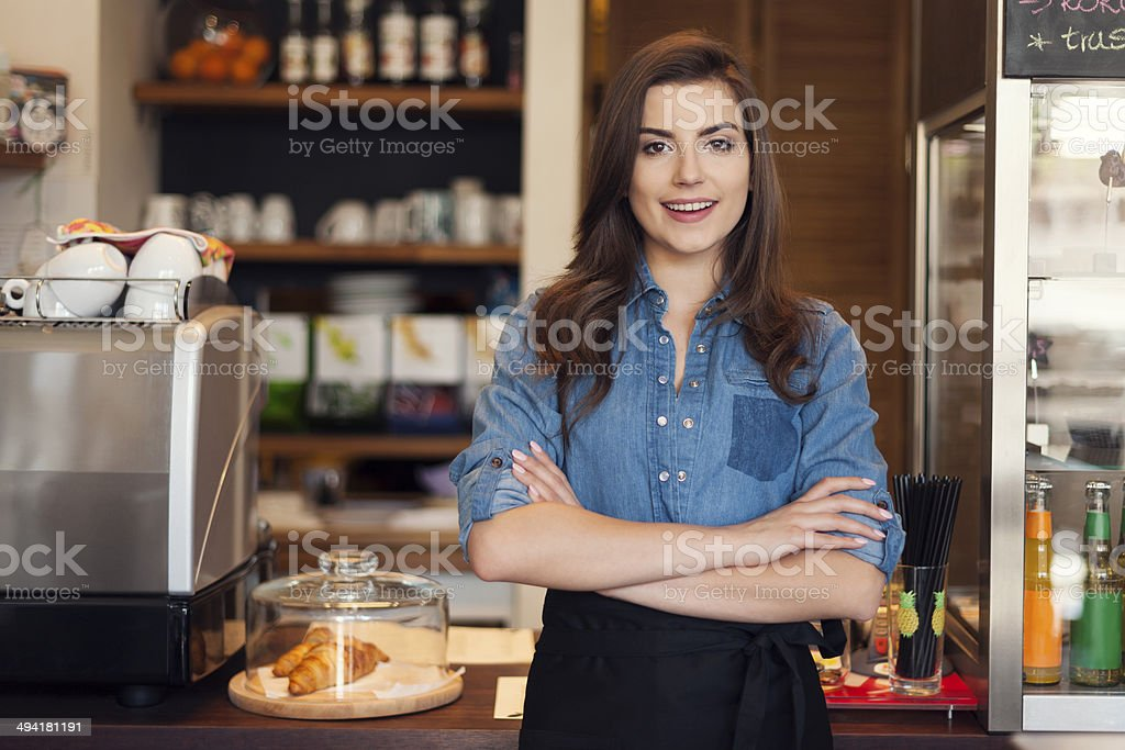 Portrait of friendly waitress at work royalty-free stock photo