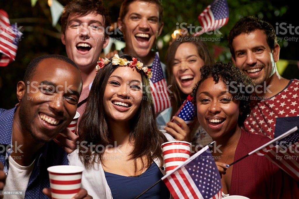 Portrait Of Friends At 4th Of July Holiday Backyard Party stock photo