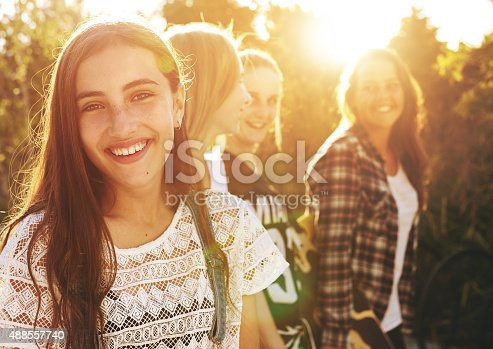 Portrait of group of friends, one smiling at camera