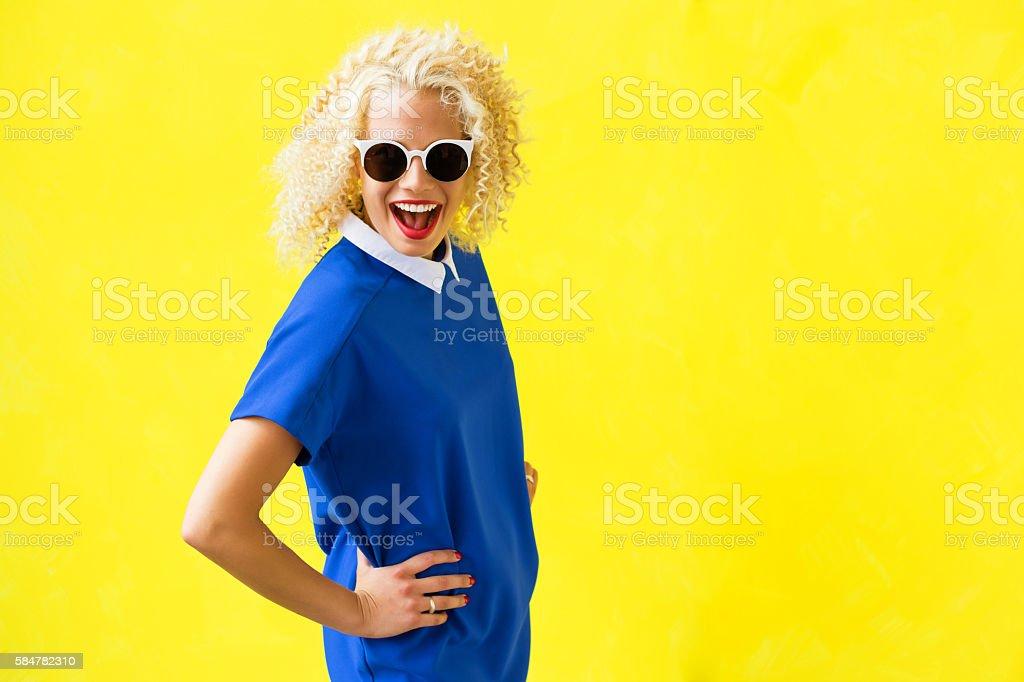 Portrait of funky woman stock photo
