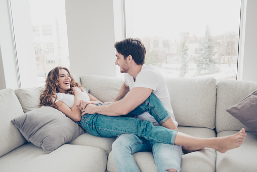 amusing nice living room stock photography image 18909472   Portrait Of Funny Comic Spouses Enjoying Time Together ...
