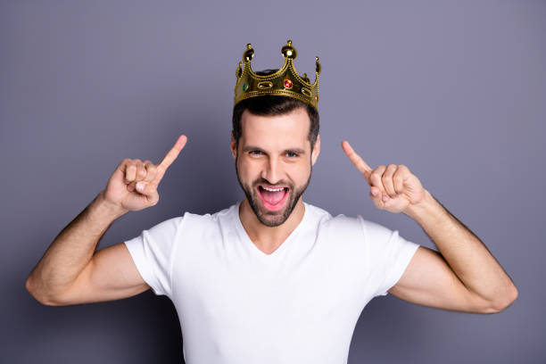 portrait of funny funky lovely cheerful excited people person have gemstone ego crown feel rejoice attractive enjoy party laughter dressed light-colored outfit isolated grey background - principe persona nobile foto e immagini stock