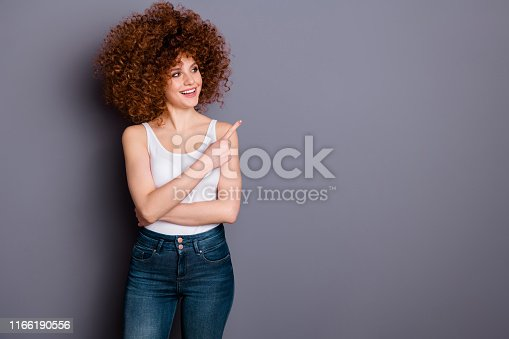 Portrait of funny funky youth have adverts choice decision isolated,over grey background