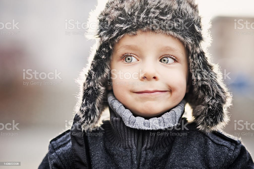 Portrait of funny little boy royalty-free stock photo