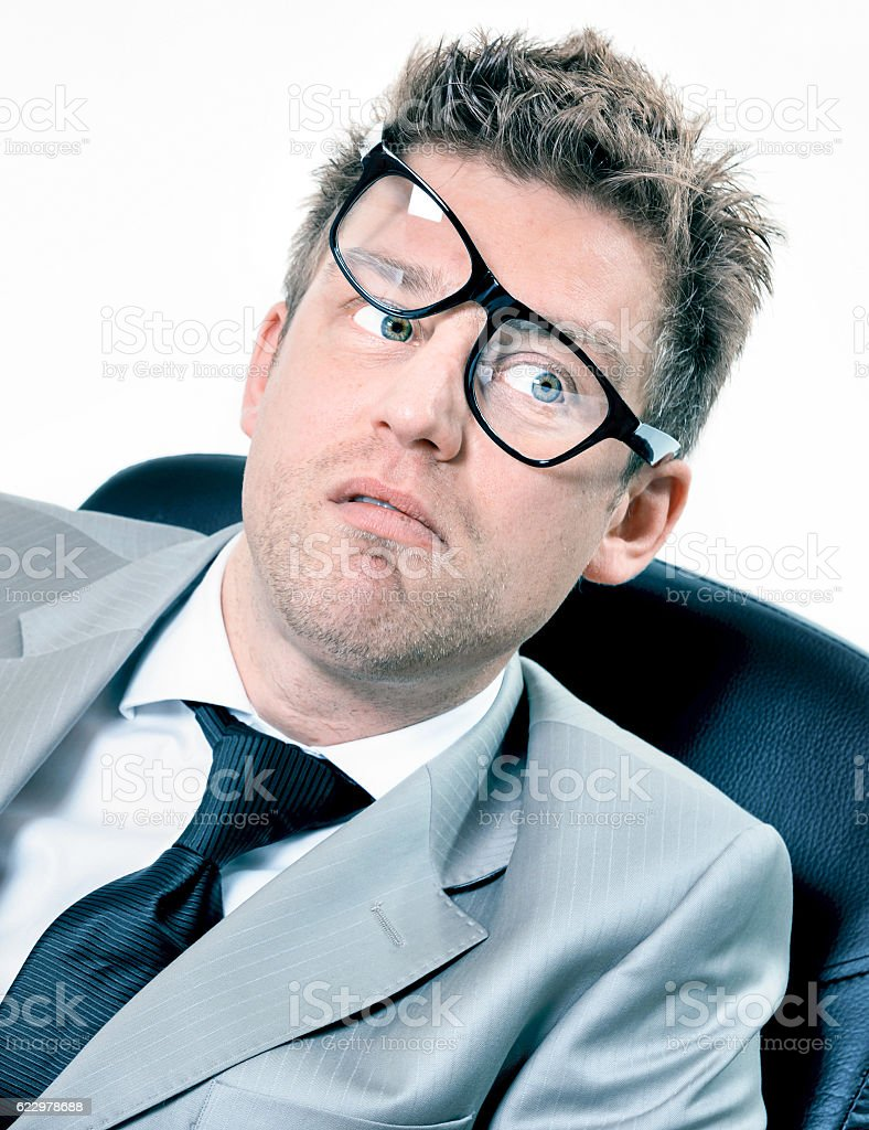 portrait of funny manager stressed at work stock photo