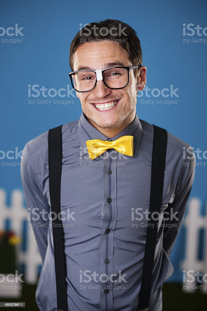 Portrait of funny nerdy man