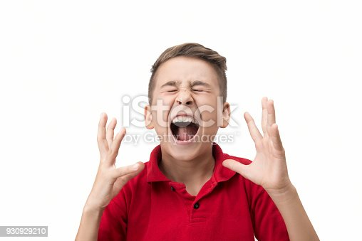 istock Portrait of furious little boy screaming in pain over white background 930929210