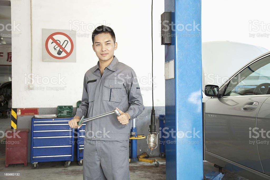 Portrait of Garage Mechanic royalty-free stock photo