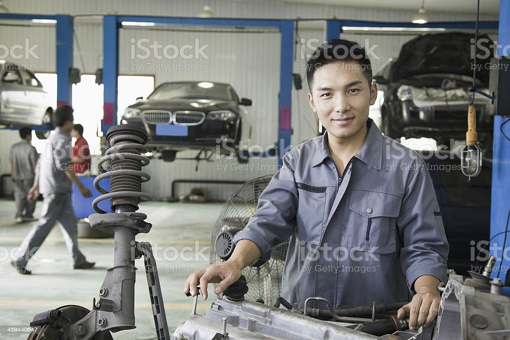 Portrait of Garage Mechanic stock photo