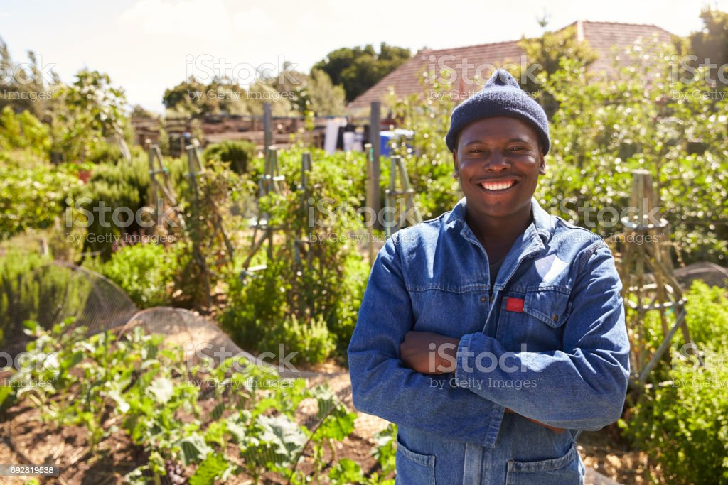 Portrait Of Gardener Standing In Community Allotment stock photo