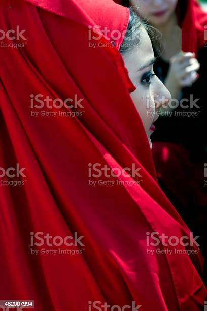 Portrait of Georgian girl in traditional costume