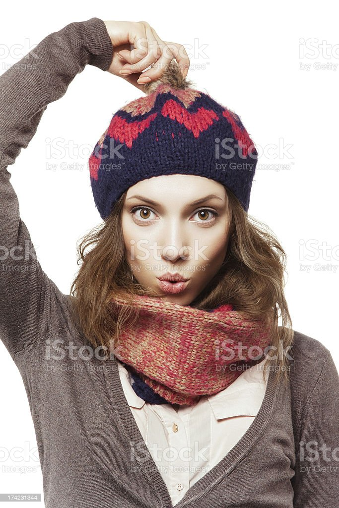 Portrait of girl in beret and scarf stock photo