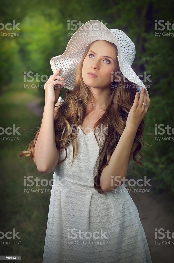 Portrait of girl  in fairy forest royalty-free stock photo