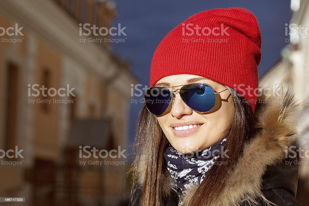Portrait of girl on street stock photo