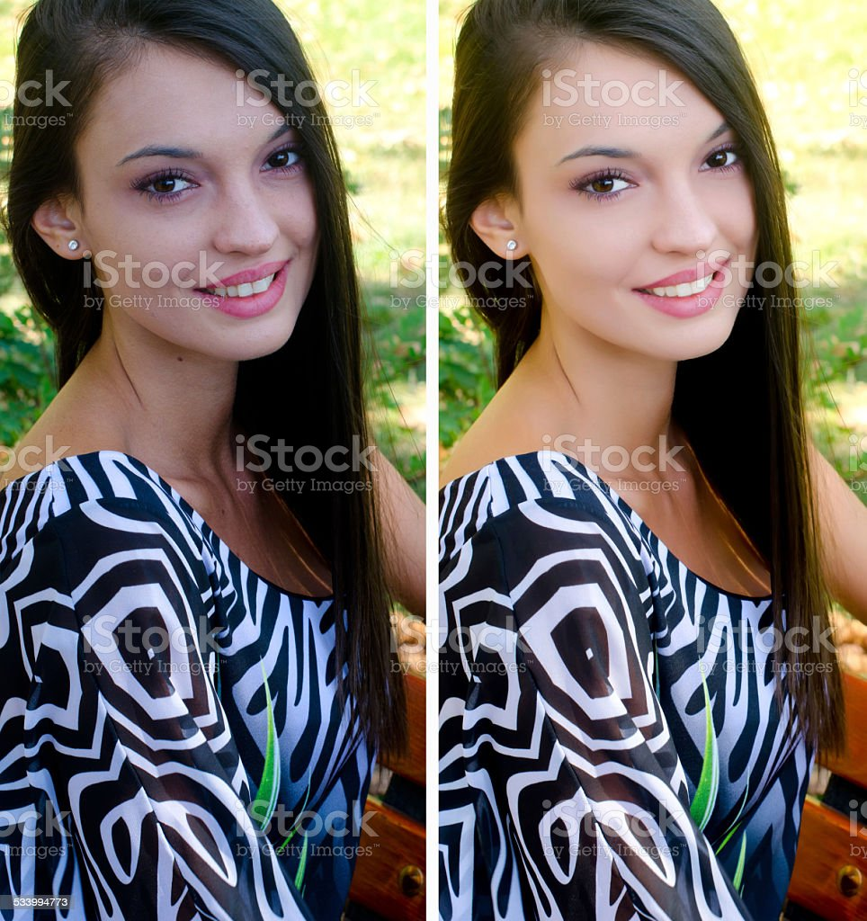 Portrait of girl smiling before and after retouching with photoshop. stock photo