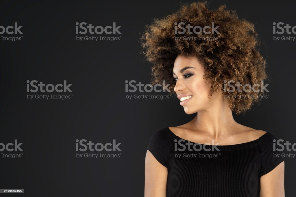 Portrait of girl with afro hairstyle. stock photo