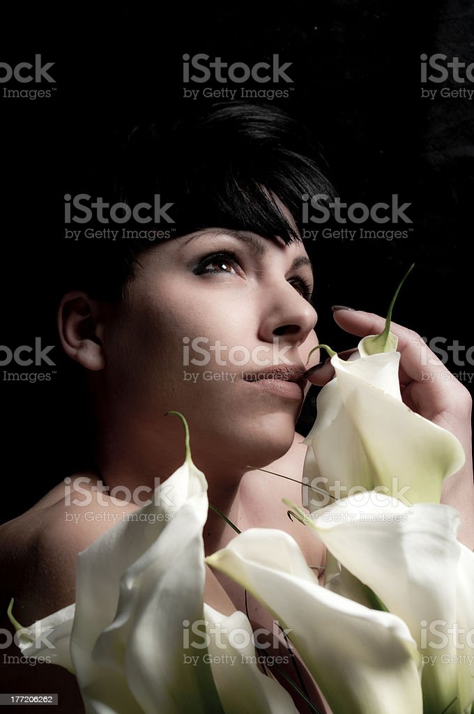 portrait of girl with flowers stock photo